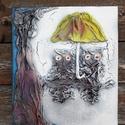 Uhuk a télben, Dekoráció, Esküvő, Képzőművészet, Otthon, lakberendezés, Mindenmás, Festészet, Ezt a faliképemet  25x30m-es feszített vászon alapra készítettem. Alkotásaim textilszobrászattal ké..., Meska