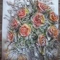 Virágok vázában, Dekoráció, Esküvő, Képzőművészet, Otthon, lakberendezés, Mindenmás, Festészet, Ezt a faliképemet  30x40cm-es feszített vászon alapra készítettem. Alkotásaim textilszobrászattal k..., Meska