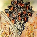 Virágok, Dekoráció, Esküvő, Képzőművészet, Otthon, lakberendezés, Mindenmás, Festészet, Ezt a faliképemet  50x40cm-es feszített vászon alapra készítettem. Alkotásaim textilszobrászattal k..., Meska