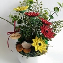 Quilling virág Anyák napjára, Dekoráció, Dísz, Mindenmás, Quilling technikával készítettem a virágokat, melyeket egy tálkában helyeztem el, köré műnövények, ..., Meska