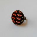 Levélmintás gyűrű, Ékszer, Gyűrű, Grosgrain szalagból, gombbehúzással készült gyűrű, állítható mérettel. Átmérője: 22 mm..., Meska