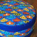 Gyerek puff, Otthon, lakberendezés, Bútor, Dekoráció, Szék, fotel, Varrás, Vidám mintás puff kisfiúknak, egyszínű pamutvászonból és designer textilből. Amellett, hogy praktik..., Meska