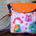 Válltáska kislányoknak, Táska, Válltáska, oldaltáska, Varrás, Rózsaszín-mintás textilből, narancs pöttyös és lila pamutvászonból készült csajszis válltáska kislá..., Meska