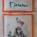 Fanni dísz, Baba-mama-gyerek, Otthon, lakberendezés, Falikép, Azonnal vihető darab.  Dekupázstechnikával készült textil kép.  Mérte 12*20 (25)cm.  Ajándéknak is k..., Meska