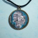 Farkaspáros indiánnal, Ékszer, Medál, Nyaklánc, Vintage stílusú technikával készült antikolt bronz nyaklánc, két farkassal és egy díszes ru..., Meska