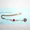 Piros fehér romantikus szív, Dekoráció, Antikolt bronz könyvjelző, arany és bronz teklagyönggyel gazdagítva. A könyvjelző  8 cm. A gi..., Meska