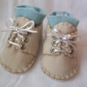 Meleg polár cipő kézzel varrva, Drapp színű, dupla rétegű termo anyagból - po...