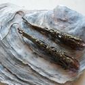 Lila sárkánykarom fülbevaló, Bronzszínű sárkánykarom gyöngykupakból és l...