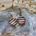 Tengerészmintás fülbevaló bronzszínű alapban, Tengerészmintás fülbevaló bronzszínű alapban...
