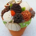 Zöld-narancs asztaldísz szárított növényekből, Dekoráció, Dísz, Zöld-narancs asztaldísz szárított növényekből Átmérője: 13 cm Magassága: 16 cm  Ha bármilyen észrevé..., Meska