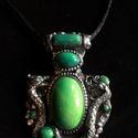"""Zöld köves """"Dragon"""" nyaklánc, Kézzel készített,egyedi, különleges antik hat..."""