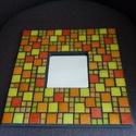 Sárga mozaikos tükör, Dekoráció, Otthon, lakberendezés, Képkeret, tükör, Dísz, Mozaik, Citrom- és narancssárga színű különböző nagyságú üvegmozaikokkal díszített tükör, a mozaikok között..., Meska