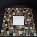 Barna mozaikos tükör, Dekoráció, Otthon, lakberendezés, Dísz, Képkeret, tükör, Mozaik, Különböző barna színű és nagyságú üvegmozaikokkal díszített tükör, a mozaikok között sötétbarna szí..., Meska