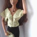 Színházi barbie ruha, Játék, Baba-mama-gyerek, Baba játék, Baba, babaház, Varrás, Leheletfinom zöld-fekete csipkeruha különleges alkalmakra. Az apró patenttel zárható válltáskában é..., Meska