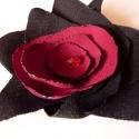 Bordó virág , Ékszer, Ruha, divat, cipő, Bross, kitűző, Hajbavaló, Kitűző gyönyörű, bordó és fekete szirmok sokaságából készült, így nagyon különleges, egyedi darab.  ..., Meska
