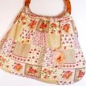Akció!!Kettő egy áron! Patchwork hatású  táska + kitűző, Táska, Szatyor, Válltáska, oldaltáska, Táska ajándék kitűzővel. Virágos, rózsás, patchwork hatású retró táska. Nagyon jó tartású vászon any..., Meska