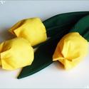 Tulipán csokor sárga színekből, Dekoráció, Húsvéti díszek, Otthon, lakberendezés, Ünnepi dekoráció, Textilből készült dekoratív tulipán csokor.  3 szál sárga árnyalat  összeállítása.  Gyönyörű, virágo..., Meska