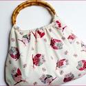 Baglyos táska, Táska, Szatyor, Baglyos retró táska. Nagyon jó tartású vászon anyag. Füle ovális bambusz karika. 11x18cm-es ..., Meska