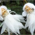 Három kis örzőangyalka, Dekoráció, Baba-mama-gyerek, Ünnepi dekoráció, Karácsonyi, adventi apróságok, Baba-és bábkészítés, Varrás, Pöttöm angyalkák! Aprólékos munkával készített,egyedi kis angyalok készültek, akik várják a költözé..., Meska