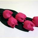 Rózsaszín tulipánok  (öt szál), Dekoráció, Baba-mama-gyerek, Otthon, lakberendezés, Húsvéti apróságok, Patchwork, foltvarrás, Varrás, Textilből készült dekoratív tulipán csokor.  5szál rózsaszín.  Gyönyörű, virágok amelyek kitűnök aj..., Meska