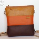 XL  Barna-narancs textilbőr váll, oldal és hátitáska