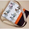 Biciklis válltáska / oldaltáska, Táska, Válltáska, oldaltáska, Tarisznya, Varrás, Patchwork, foltvarrás, Designer biciklis vászon és színes szövetek összepároztatásából készített váll-oldaltáska. Hátoldal..., Meska