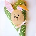 AKció!! Nyuszis dekorációs szív (zöld-fehér  pöttyös) , Baba-mama-gyerek, Dekoráció, Ünnepi dekoráció, Húsvéti díszek, Zöld- fehér pöttyös vászon alapon, nyuszi fejecskével díszített, Tilda  stílusú szívecske teheti kül..., Meska