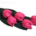 Rózsaszín tulipánok  (öt szál), Dekoráció, Baba-mama-gyerek, Otthon, lakberendezés, Húsvéti díszek, Textilből készült dekoratív tulipán csokor.  5szál rózsaszín.  Gyönyörű, virágok amelyek kitűnök ajá..., Meska