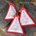 Karácsonyi dísz , Dekoráció, Karácsonyi, adventi apróságok, Ünnepi dekoráció, Karácsonyi dekoráció, Varrás, Karácsonyfa alakú, filc díszeket készítettem. Zöld zsinórral akaszthatjuk őket a helyükre. Danulonn..., Meska