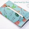 Zsebkendőtartó flamingó mintával, Baba-mama-gyerek, Szépségápolás, Táska, Egészségmegőrzés, Textilből készült papír-zsebkendő tartó, amit minőségi  vászonból készítettem. Nagyon praktikus dara..., Meska