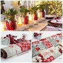 Karácsonyi asztalterítő, asztali futó, Otthon, lakberendezés, Dekoráció, Lakástextil, Ünnepi dekoráció, Minőségi, vászon anyagból készült mintás terítő, futó karácsonyra. Gyönyörű ünnepi dísz, de akár ajá..., Meska