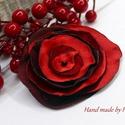 Akció! Kitűző,bross piros, bordó, Ruha, divat, cipő, Ékszer, Bross, kitűző, Sötét piros és bordó szirmú kitűzőm szatén anyagokból készült, elegáns, nőies darab lett. Mérete: 8 ..., Meska