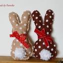 Két, húsvéti textil nyuszi, pom-pom farokkal (barna,drapp), Nyuszik 300Ft/ darab áron. Itt, két darab árát...