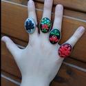 Gyűrűk népi mintával, állítható mérettel, Ékszer, Gyűrű, Gyurma, A képen látható gyűrűk állítható méretűek. Ha kérdésed van írj bátran., Meska