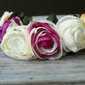 Bazsarózsa Tavaszkoszorú, fejkoszorú-virágkoszorú, Ruha, divat, cipő, Ékszer, óra, Hajbavaló, Hajpánt, Ékszerkészítés, Varrás, Szinte érzed az illatát ezeknek a textilvirágoknak.   Színes és krém virágok készültek aprólékos mu..., Meska