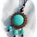 Bronz-türkiz nyaklánc, Ékszer, Nyaklánc, Ennek a kis ékszernek csodálatosan harmonizálnak a színei. A bronz és a türkiz ásványgyöngy..., Meska