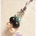 Petra fülbevaló, Ékszer, Fülbevaló, A fülbevalót színes tekla gyöngyökből ,és  fekete akril gyöngyből készítettem, ezüst színű szerelékk..., Meska