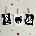 Az erdő lakói - fejlesztő kontraszt kártya csomag babáknak, Kontrasztos formák fekete-fehérben. A babák lá...