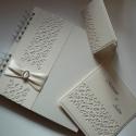 Esküvői szett áttört mintával, Naptár, képeslap, album, Esküvő, Fotóalbum, Meghívó, ültetőkártya, köszönőajándék, Csodás áttört mintával, gyöngyházfényű és matt kartonokból készítettem esküvői meghívót, ültetőkárty..., Meska