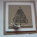 Karácsonyi minimál, Naptár, képeslap, album, Dekoráció, Karácsonyi, adventi apróságok, Ajándékkísérő, képeslap, Szép vonalú grafikával, natúrfehér és újrabarna kartonokkal készítettem egyszerű képeslapot, kenderz..., Meska