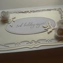 Zsebes boríték - esküvőre, Esküvő, Naptár, képeslap, album, Meghívó, ültetőkártya, köszönőajándék, Nászajándék, Papírművészet, Szépséges keretminta.  Elegáns csillanás - matt visszafogottság kettőse. Néhány rózsa...  Zsebes bo..., Meska