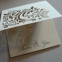 Áttört indák - esküvői meghívó, Esküvő, Meghívó, ültetőkártya, köszönőajándék, Papírművészet, Matt, törtfehér kartonból, szépséges áttört mintával készítettem egyszerűségében nagyvonalú meghívó..., Meska