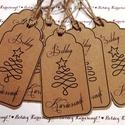 Ajándékkíséret, Naptár, képeslap, album, Dekoráció, Karácsonyi, adventi apróságok, Ünnepi dekoráció, Stílusos karácsonyi ajándékkísérő csapat, natúr kivitelben, szép karácsonyfa motívummal.  A címkék m..., Meska