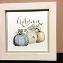 Vintage tökök-viaszolt fakeretben, Dekoráció, Kép, Fehérre festett, viaszolt fenyő keretbe illesztettem pasztell, finom vintage színekkel készült aquar..., Meska