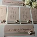 Rózsás ültetési rend, Esküvő, Meghívó, ültetőkártya, köszönőajándék, Ültetési rend rusztikus-romantikus stílusban, kb 50x70cm-es táblára - képkeretbe tervezve, de teljes..., Meska