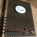 Feketekávé- fehér pöttyös receptes, Konyhafelszerelés, Naptár, képeslap, album, Receptfüzet, Jegyzetfüzet, napló, Stílusos, praktikus, vonalazott lapokkal készített recepteskönyvet hoztam: ha szereted a minden rész..., Meska