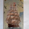 Hajós falikép, Dekoráció, Kép, A falapot fehér lazúrral kezeltem, rizspapír képet dekopázsoltam rá. A sirályokat 3D-s kontú..., Meska
