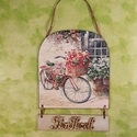 Kopogtató biciklivel, Otthon, lakberendezés, Ajtódísz, kopogtató, Egy vidám kopogtatót készítettem Isten Hozott felirattal. A falapra viragos-biciklis képet deko..., Meska