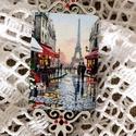 Hűtőmágnes - Párizs, Konyhafelszerelés, Hűtőmágnes, Tavasz, szerelem, Párizs. Áttört mintás falapból hűtőmágnest készítettem párizsi utcakép..., Meska