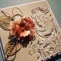 """""""Egyszerűen"""" - képeslap, Esküvő, Naptár, képeslap, album, Ajándékkísérő, Képeslap, levélpapír, Papírművészet, A scrapbook technikával készített képeslap méretei: 140mm x 140mm. Hozzá illő borítékkal, áttetsző ..., Meska"""